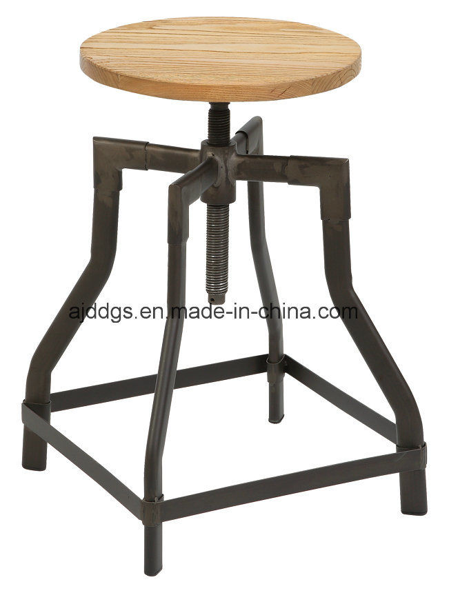 Wooden Seat Iron Tube Adjustable Bar Stool