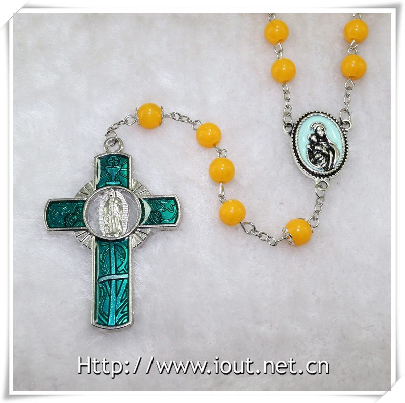 Virgin with Child Catholic Resin Rosary, Resin Round Beads Necklace (IO-cr374)