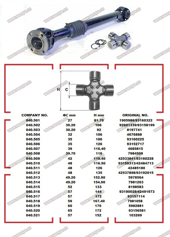 Iveco Truck Spare Parts Universal Joint Cross U Joint