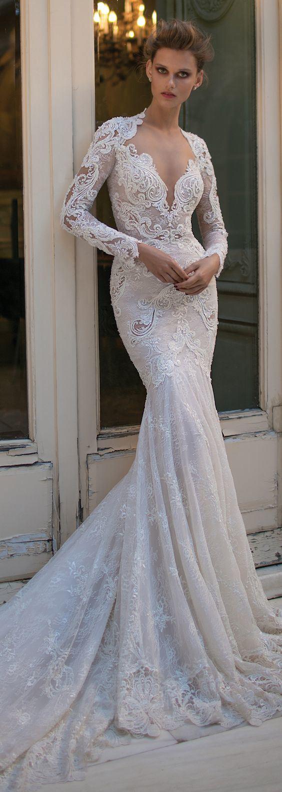 Long Sleeves Berta Bridal Gowns Mermaid Lace Beading Wedding Dress B16302