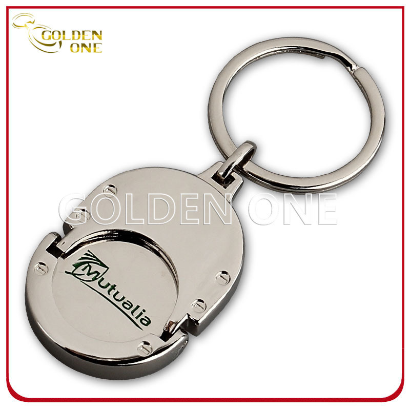 Custom Printed Metal Trolley Coin Holder Keychain