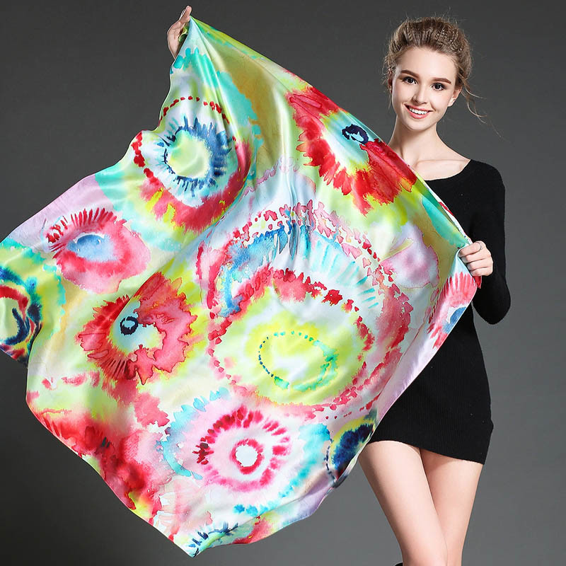 Female Digital Printing Silk Scarf Shawl