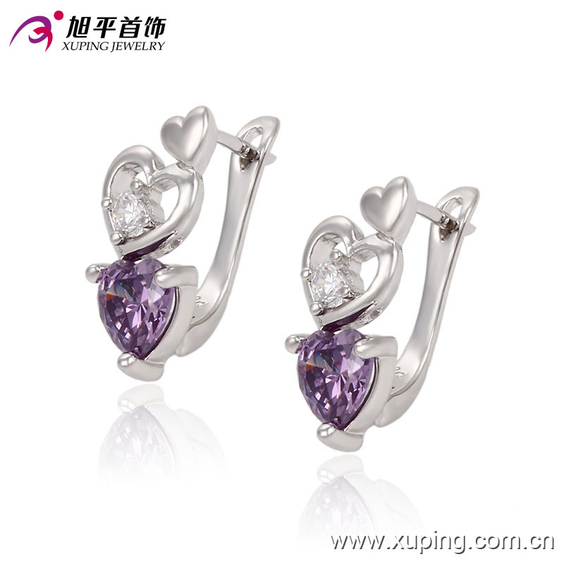 Latest Fancy CZ Crystal Heart-Shaped Silver Jewelry Hoop Earring for Wedding or Party - 90343