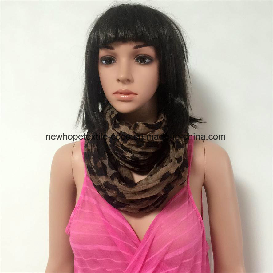 100% Polyester, Voile Material Multifunctional Scarf with Leopard Printing