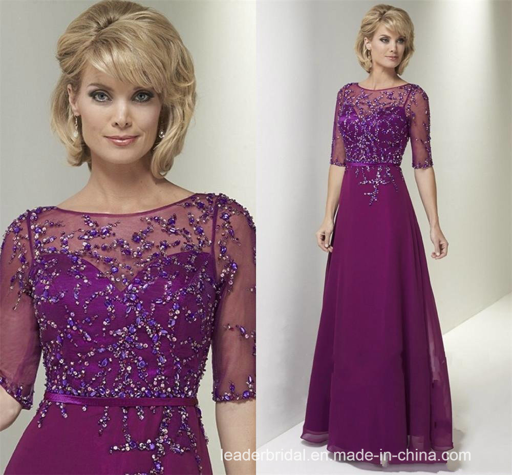Beading Evening Dresses Sleeves Chiffon Bridesmaid Formal Gown M80239