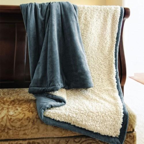Super Soft Coral Fleece /Flannel Fleece Blanket with Sherpa Backside