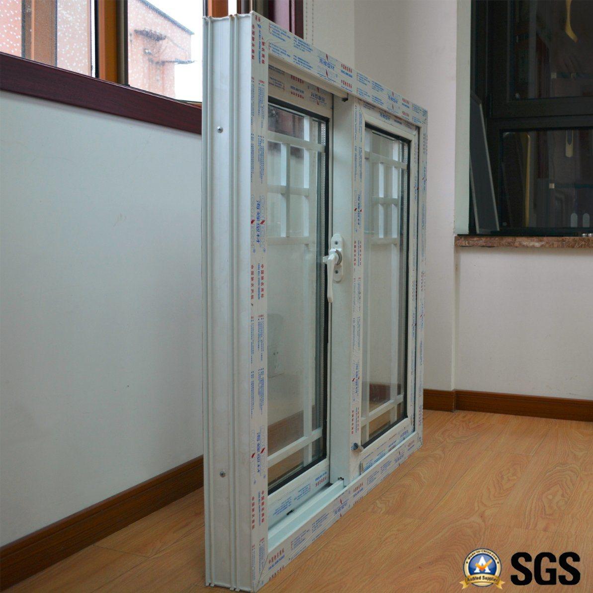 Double Glass with Grid White Colour UPVC Profile Sliding Window K02016