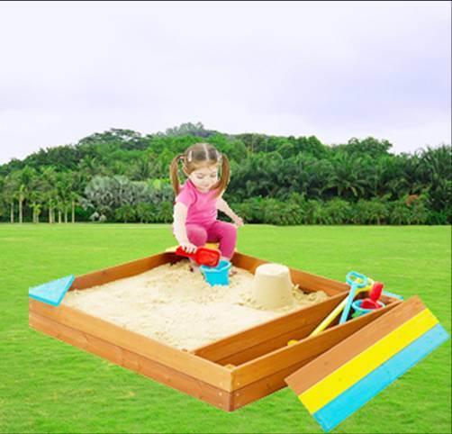 Colorful Wooden Sandpit Children′s Outdoor Playground Sandbox