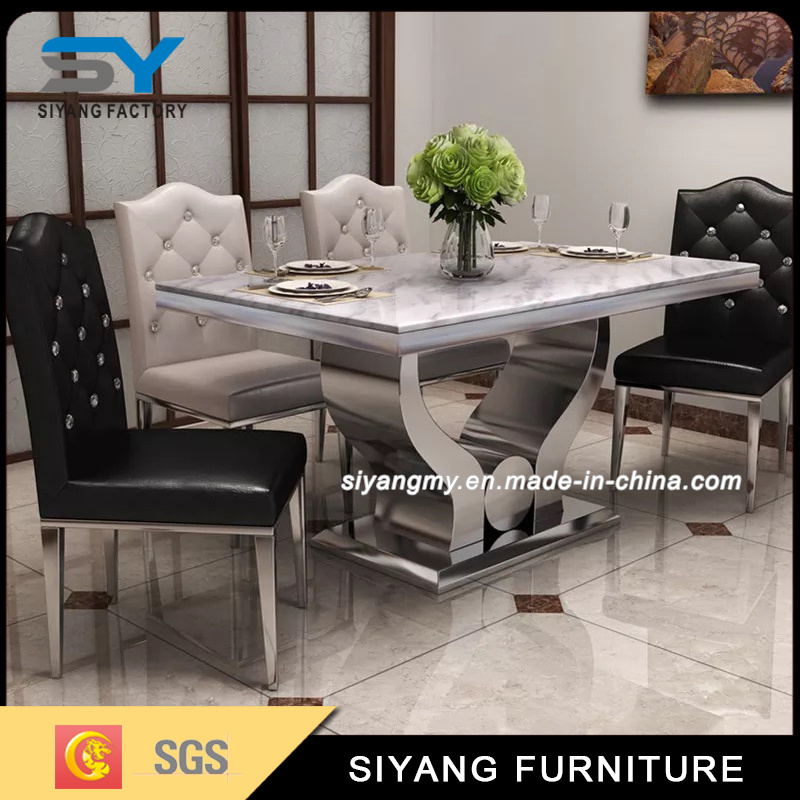 Modern Dining Room Furniture Marble Top Stainless Steel Dining Table