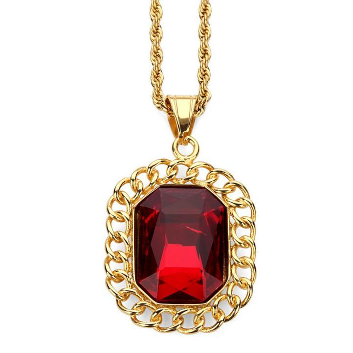 New Arrival Hip Hop 316L Ruby Jewelry Pendant Necklace