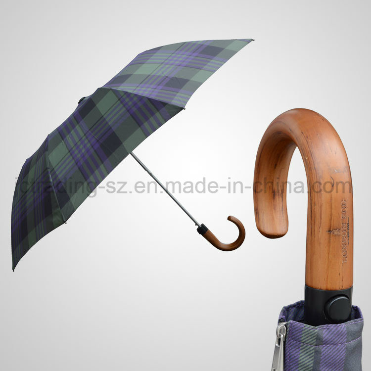 2 Section Automatic Top Umbrella Wooden Handle Foldable Umbrella