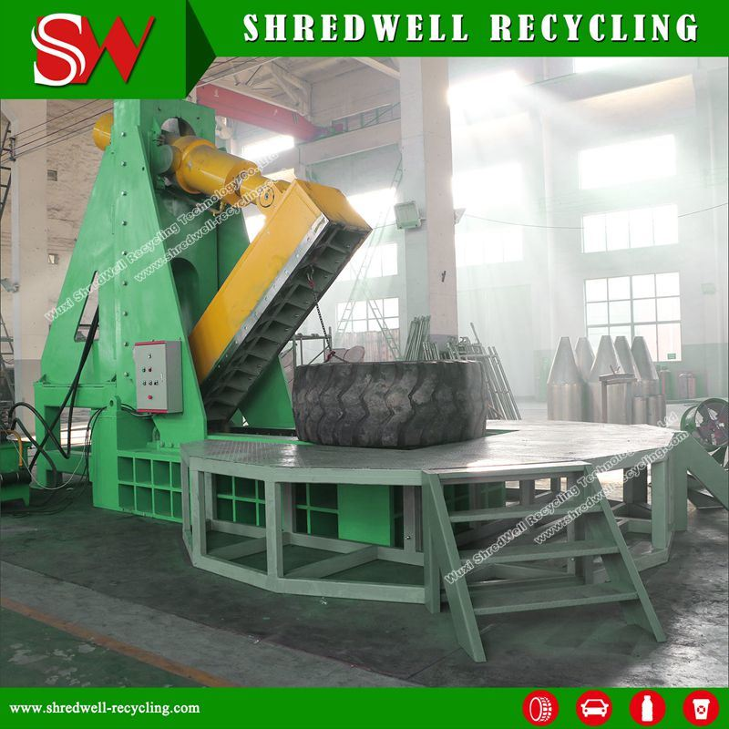 Giant Tire Cutter for Tyre Recycling to Cut Huge OTR Tyre