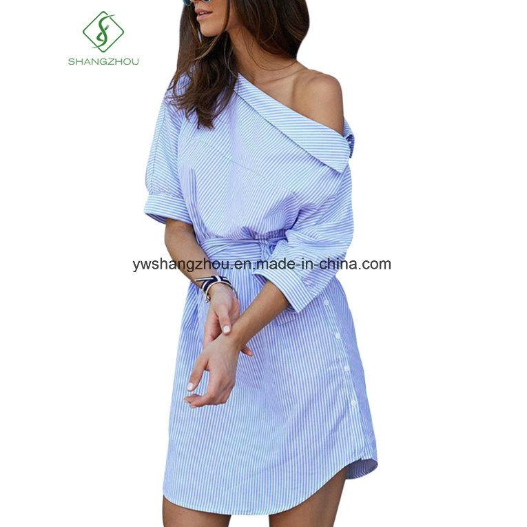 2017 Fashion One Shoulder Elegant Blue Striped Women Shirt Dress