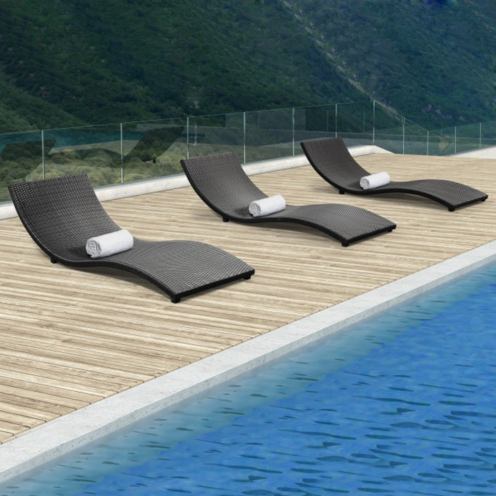 Outdoor Garden Patio Pool Furniture Rattan Wavy Shape Deck Chair Wicker Lying Lounge Bed