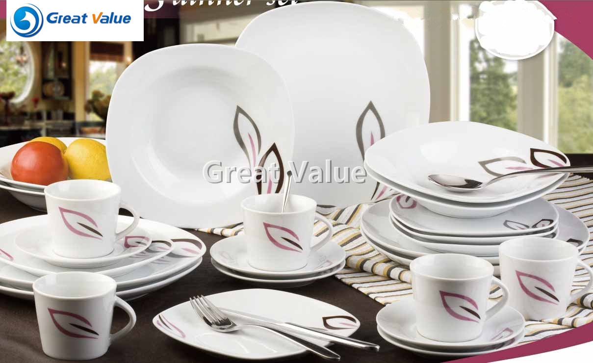 30PCS Square Porcelain Elegant Dinnerware Set