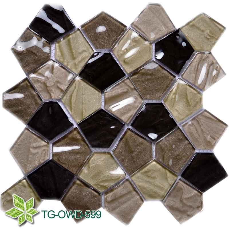Glass Mixing Stone Long Strip Mosaic Tile (TG-OWD-599)