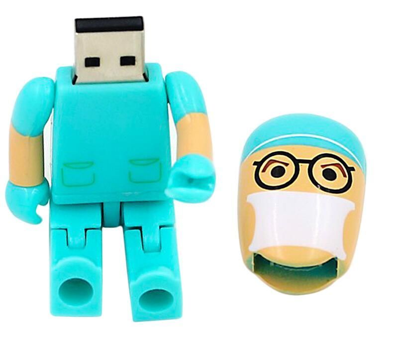 Moveable Doctor Nurse Flash Disk 8GB 16GB USB 2.0 Pendrive Pen Drive