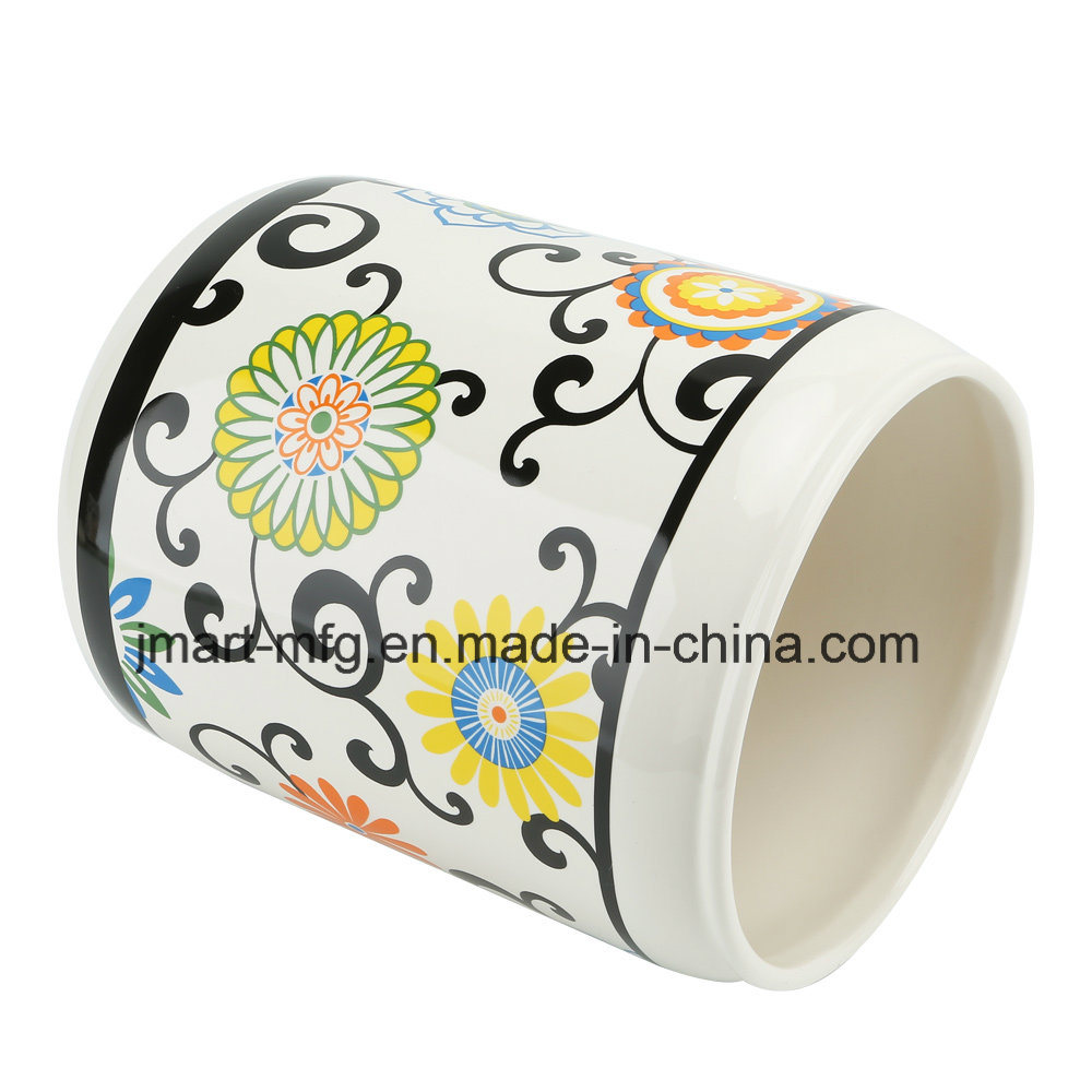 Modern Flower Decal Ceramic Bathroom Accessory / Bath Accessory / Bathroom Set