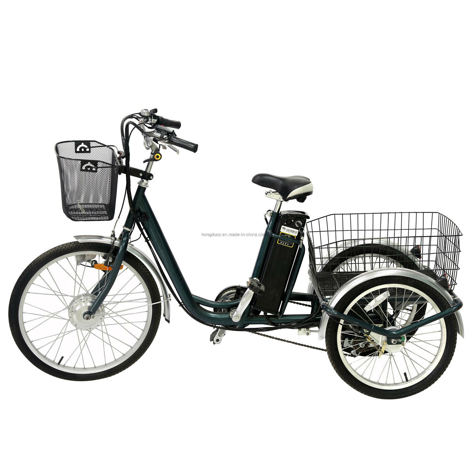 """24"""" 3 Wheel Adult Electric Cargo Big Wheel Tricycle with Cabin on Sale"""