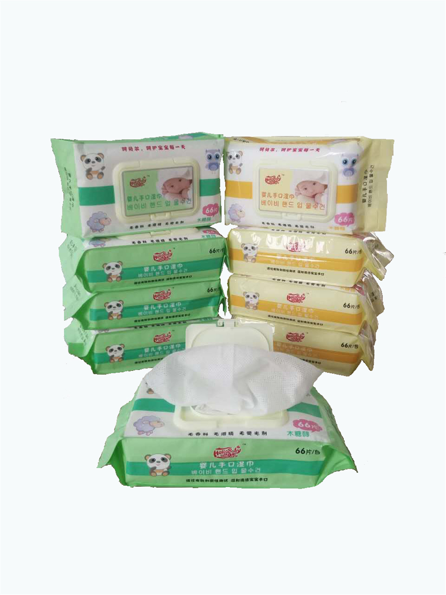 66PCS Nice Design Alcohol Free Antibacterial with a Cover Baby Wipe