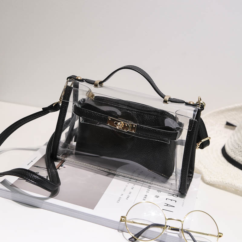 2017 New Cherry Transparent Bag Set Fashion PU Ladies Crossbody Bag Hcy-5072