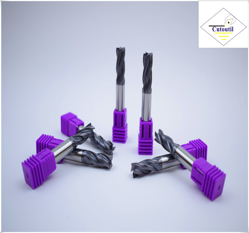 Cutoutil HRC45 Tialn Coating  D3*8*D4*50 2f/4f for Steel CNC Machining Part  Square Carbide End Mills Tools