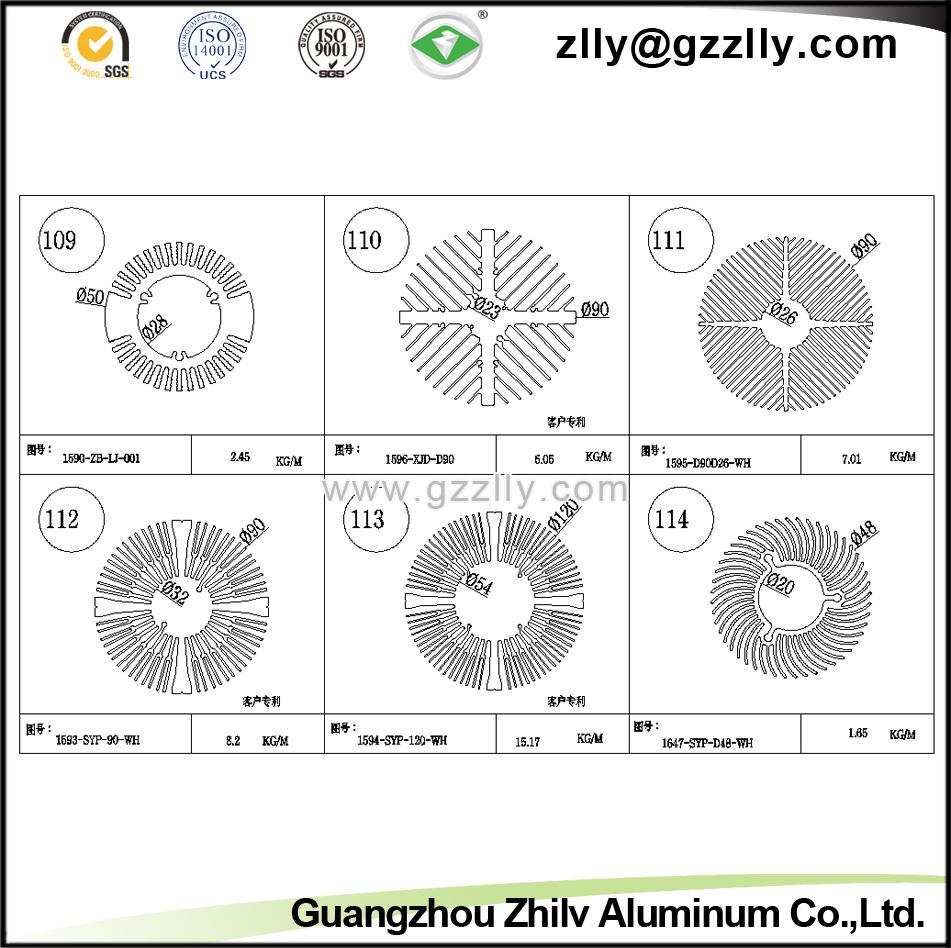 Building Material Sunflower Shaped Aluminum Extrusion Radiator