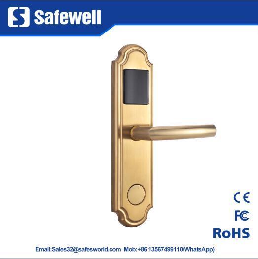 304 Stainless Steel Golden Color Electronic Hotel Door Lock