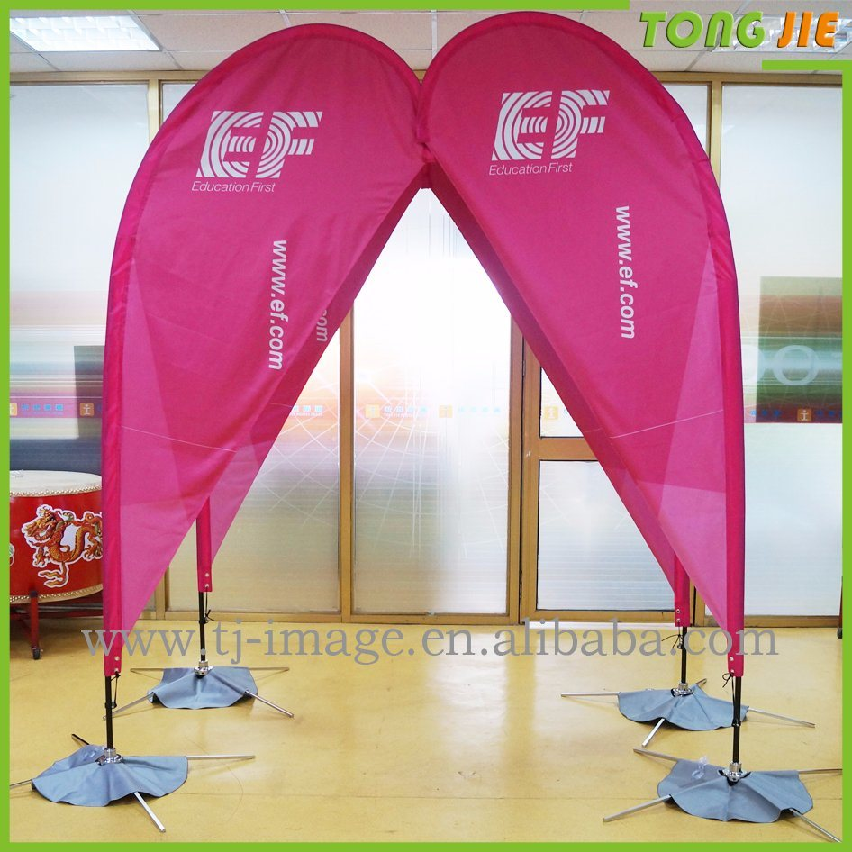 Customed Fiberglass Pole Teardrop Beach Feather Flying Flag
