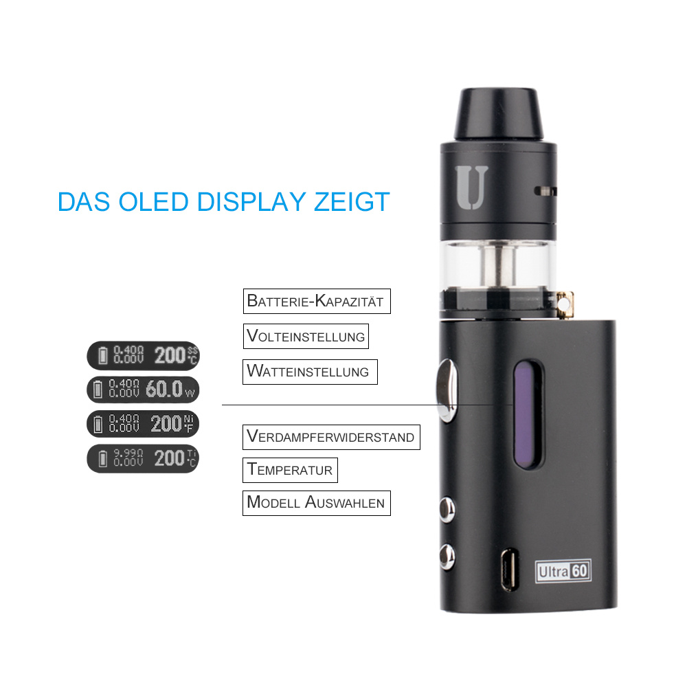 Leading Quality Ultra Vape Mod HD Display Jomo Ultra 60W Liquid for The Electronic Cigarette