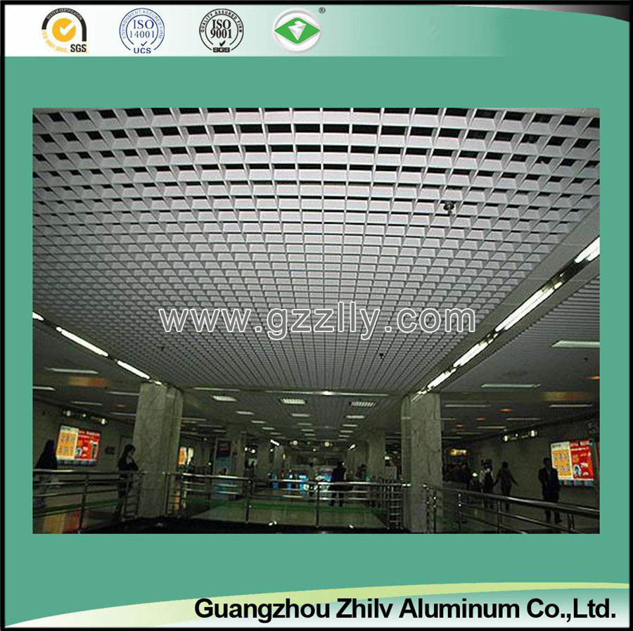 Pop Aluminum Open Cell Grid Ceiling for Shopping Mall and Metro Station