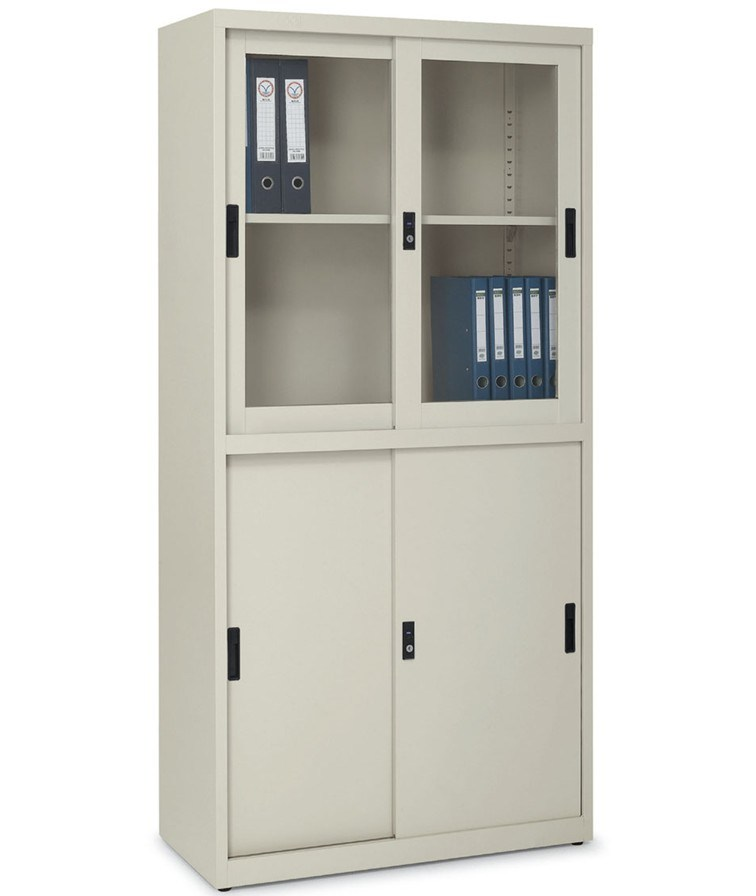 China Kefeiya Beige Glass Sliding Door Metal File Cabinet