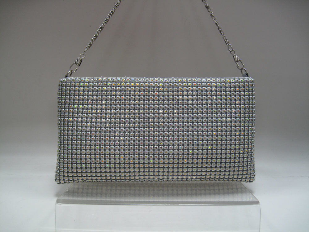 Evening Mesh Shoulder Bag with Crystal Design