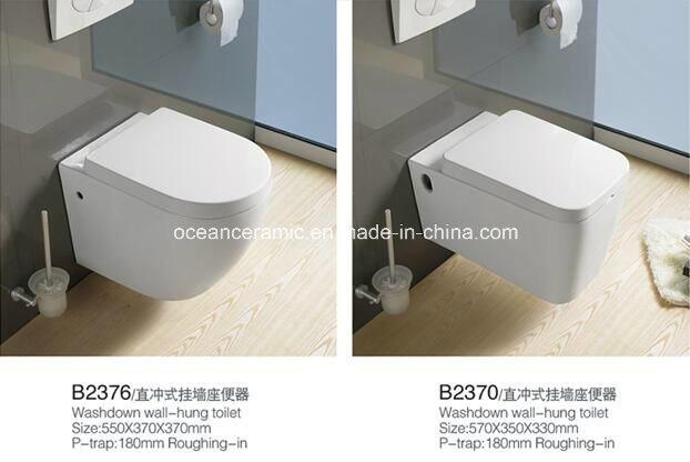 837 Sanitary Ware, Water Closet, Ceramic Washdown Wall-Hung Toilet