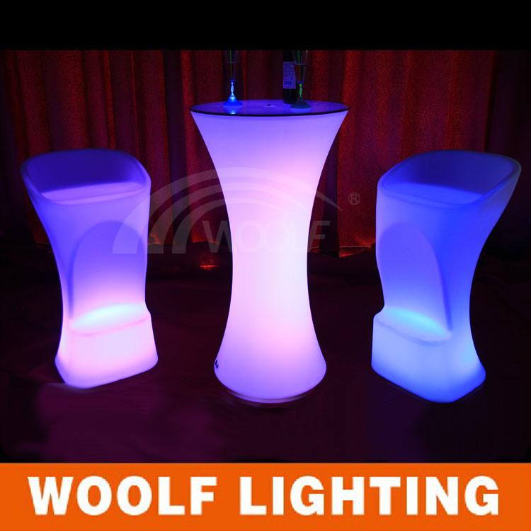 Commercial Plastic Modern Restaurant LED Coffee Bar Table