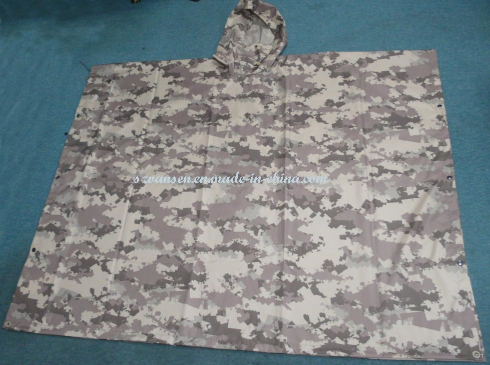 Unisex Durable 100% Waterproof Camouflage Rain Poncho for Army
