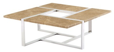 Light Finish Marble Tea Table With 1.2mm Thickness Ss 201 Base Frame