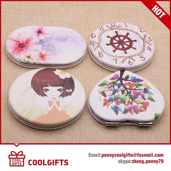 Cute Epoxy Metal Pocket Foldable Mirror with Cartoon Print