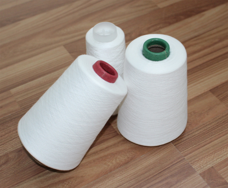 302/402 Bleached White Spun Polyester Yarn with 100% Virgin Fiber Knitting Yarn