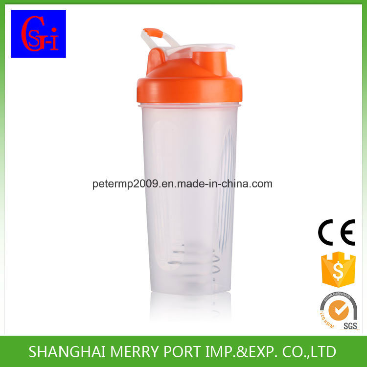 600ml 21oz BPA Free Plastic Shaker Bottle Shaker Cup with Stainess Steel Ball