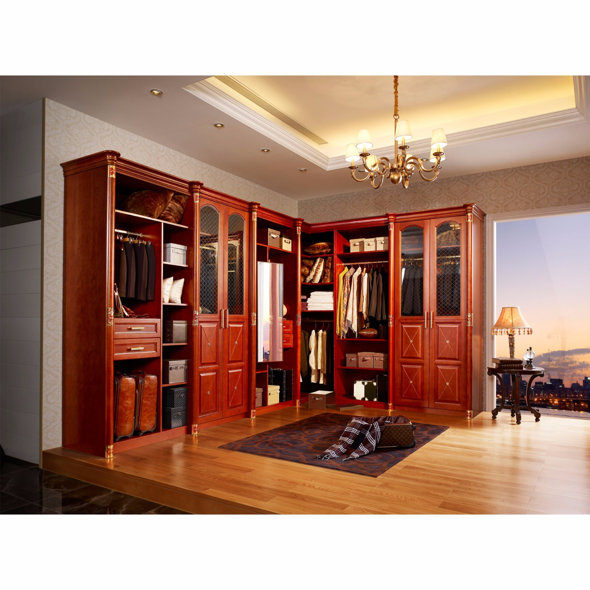 Classics Luxury L-Shaped Solid Wood Open Closet for Home Furniture