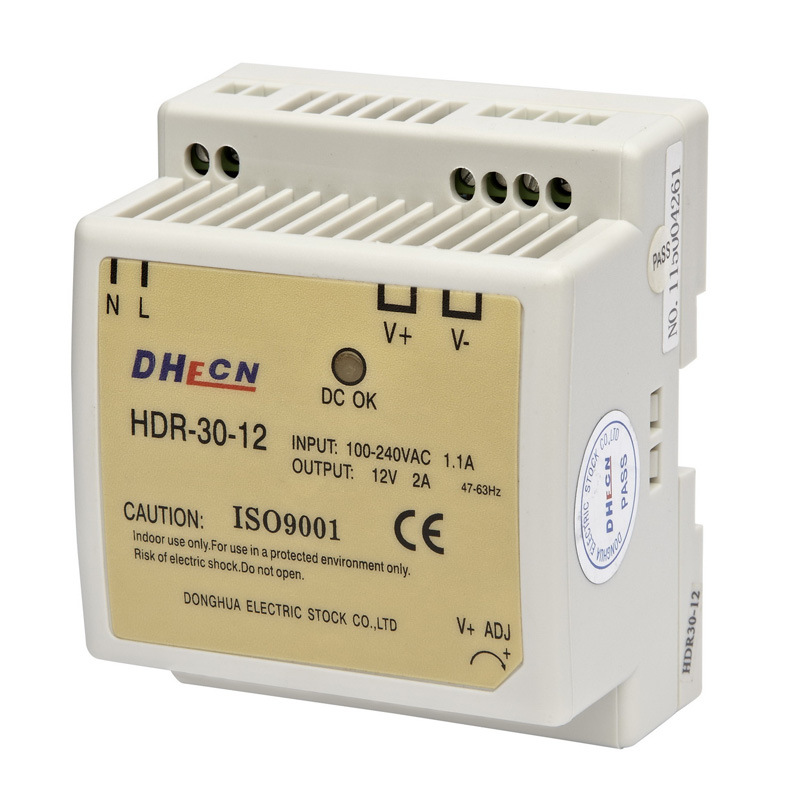 HDR-30, 30W Single Output DIN Rail Type Switching Power Supply Output 12VDC 2A
