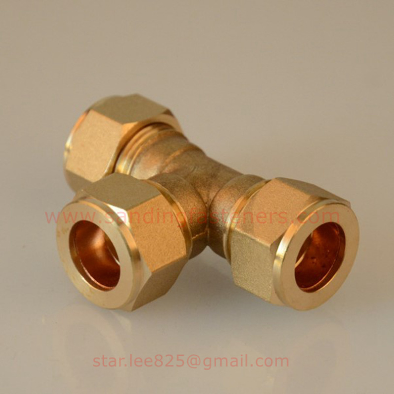 Brass Equal Compression Tee Pex-Al-Pex Fitting