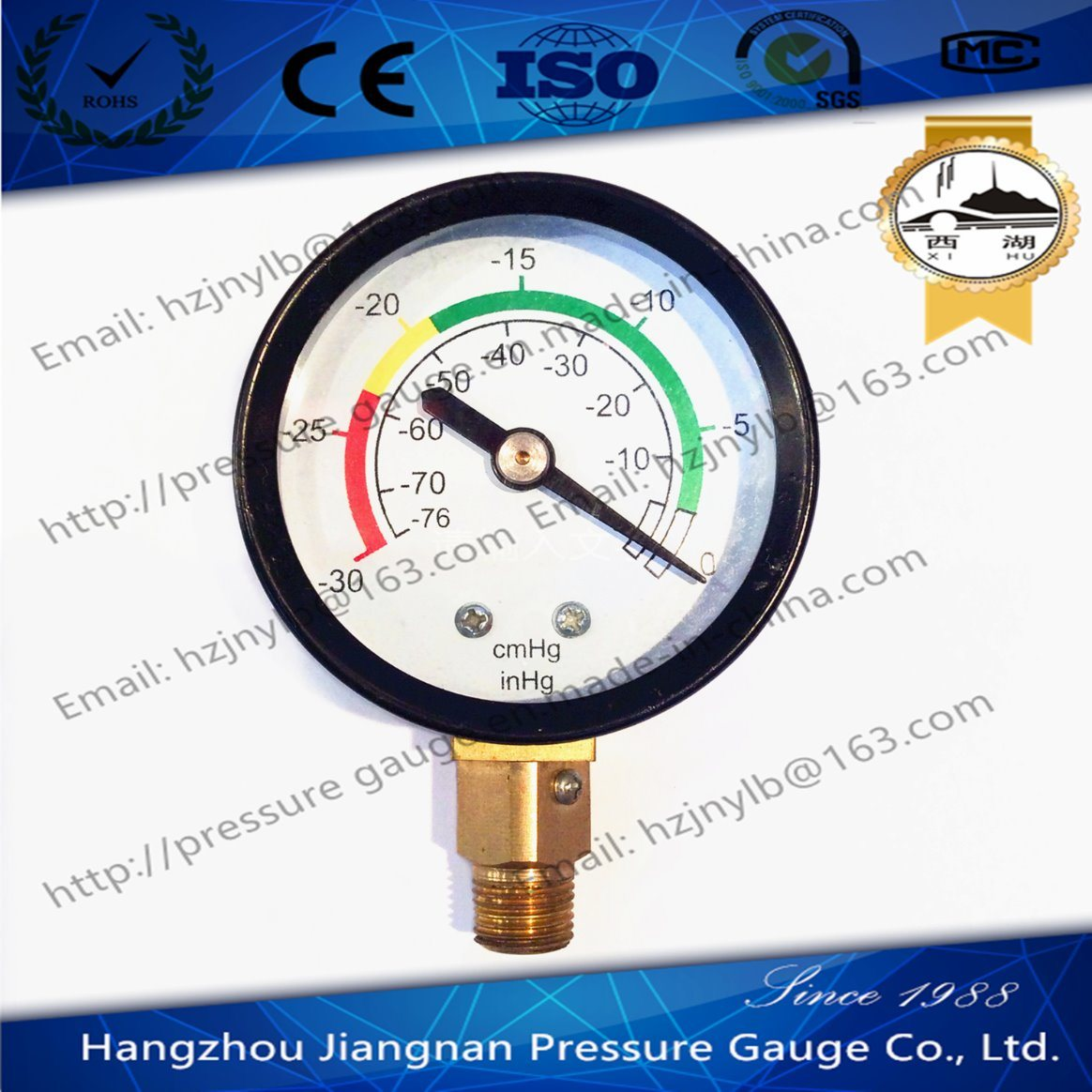 50mm 2′′ Vacuum Pressure Gauge with Universal Connection