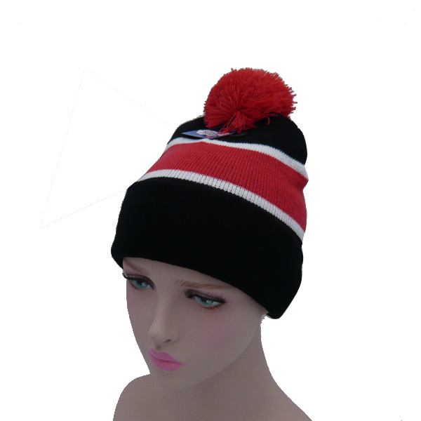 Stripes Knitted Hat with Ball