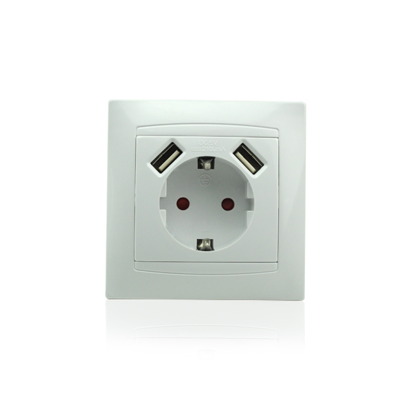 Schuko Wall Socket with 2-Port USB Charger for Mobile Phone