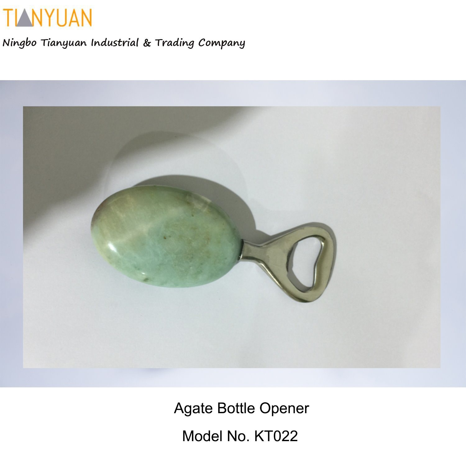 Agate Bottle Opener/ Anthropologie/Bottle Opener-Botswana Agate with Stainless Steel Metal Parts