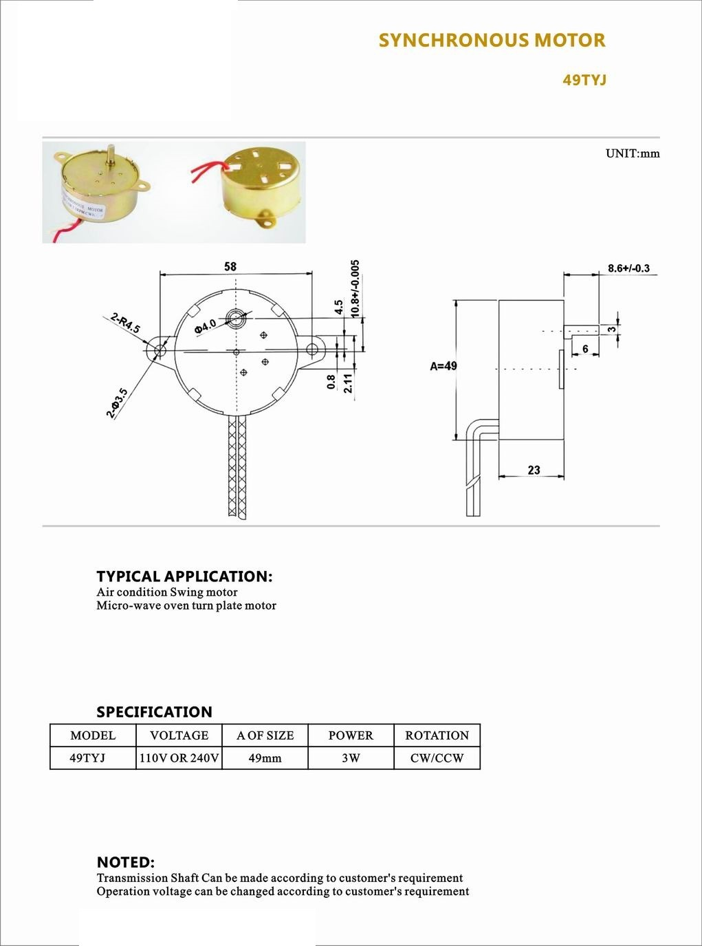 High Quality Synchronous Motor for Swing Fan/Valave