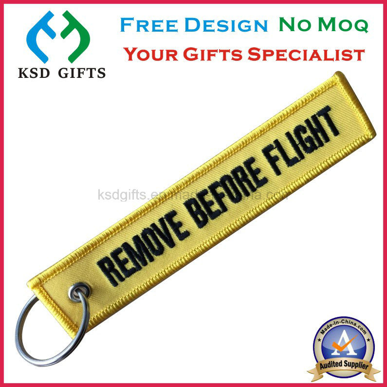 Fabric Key Chain Custom Embroidery Keychains, Remove Before Flight Keyring