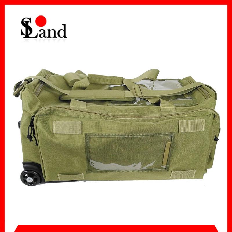 Green Cordura Fabric Military Equipment Wheeled Bag